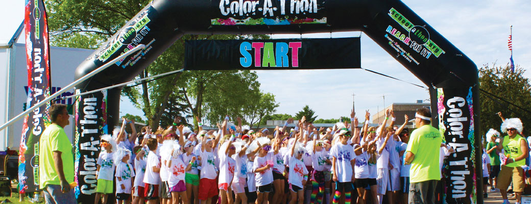 Kids at a Color-A-Thon Starting Gate